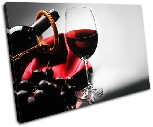 Red wine drink grape Food Kitchen SINGLE CANVAS WALL ART Picture Print VA