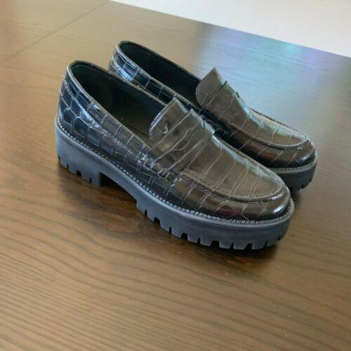 Steve Madden Crew Women Penny Loafers Platform Black Croc Prints New
