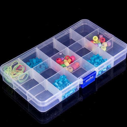 Plastic15//10//24 Slots Adjustable Jewelry Storage Box Case Craft Organizer Bead.