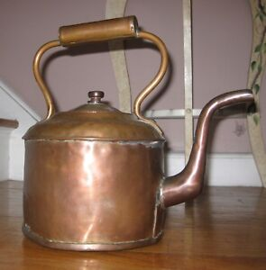 Vintage-Handmade-Copper-Tea-Kettle-Pot-12-034-Tall-Including-Handle-X-7-5-034-Base