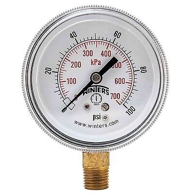 "Air Pressure Gauges Dashing Winters Instruments P9s90214 Temperature Gauge 2.5""x1/4npt 0-100psi/kpa 75df Reliable Performance"