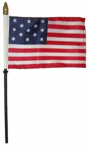 "30 Star Linear USA 4/""x6/"" Flag Desk Set Table WOODEN Stick Staff"