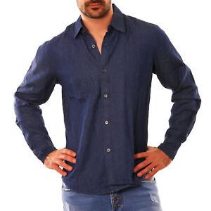 Camisa-vaqueros-de-hombre-AZUL-OSCURO-botones-manga-larga-algodon-regular-DENIM