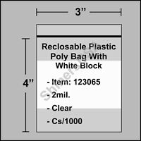 2 Mil Reclosable Poly Bag W/white Block 3x4 Clear Ziplock Cs/1000 (123065)