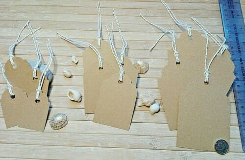 Brown Gift Favour Name Tags White /& Gold Twine Vintage Labels Small Med Large