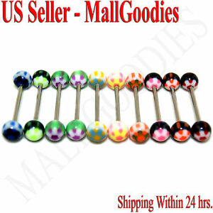 W024-Acrylic-Tongue-Rings-Barbell-14G-Bar-5-8-034-16mm-Flower-Shape-LOT-of-10