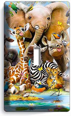 African Jungle Animals 1 Gang Light Switch Wall Plate Baby Nursery Room Hd Decor Ebay