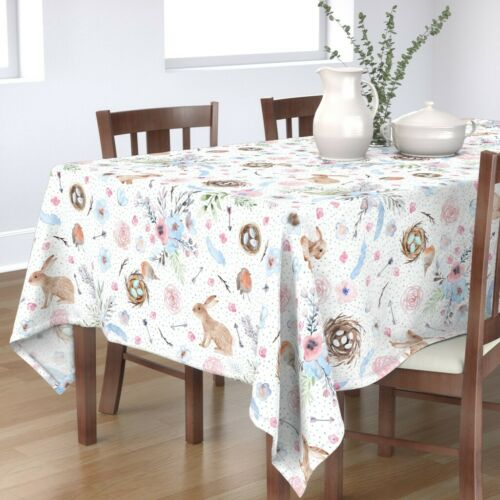 Tablecloth Easter Spring Bunnies Eggs Watercolor Floral Cotton Sateen