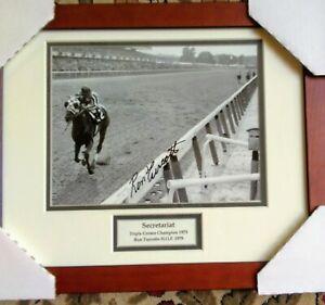Secretariat-signed-photograph-BELMONT-Ron-Turcotte-autograph-HEAD-ON-Prof-frame
