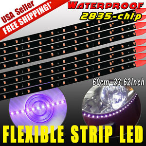"8X 60CM/24"" Car Motorcycle 2835 LED Lights Flexible Strip Purple 12V Waterproof"