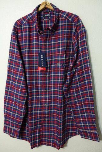 Chaps L//S Performance Flannel Shirt Men/'s 2XLT Button Front 100/% Cotton Rhapsody