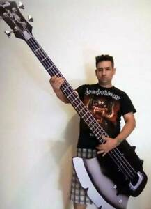 giant 6 5 feet axe bass guitar cort gene simmons kiss wall decor unique l k ebay. Black Bedroom Furniture Sets. Home Design Ideas