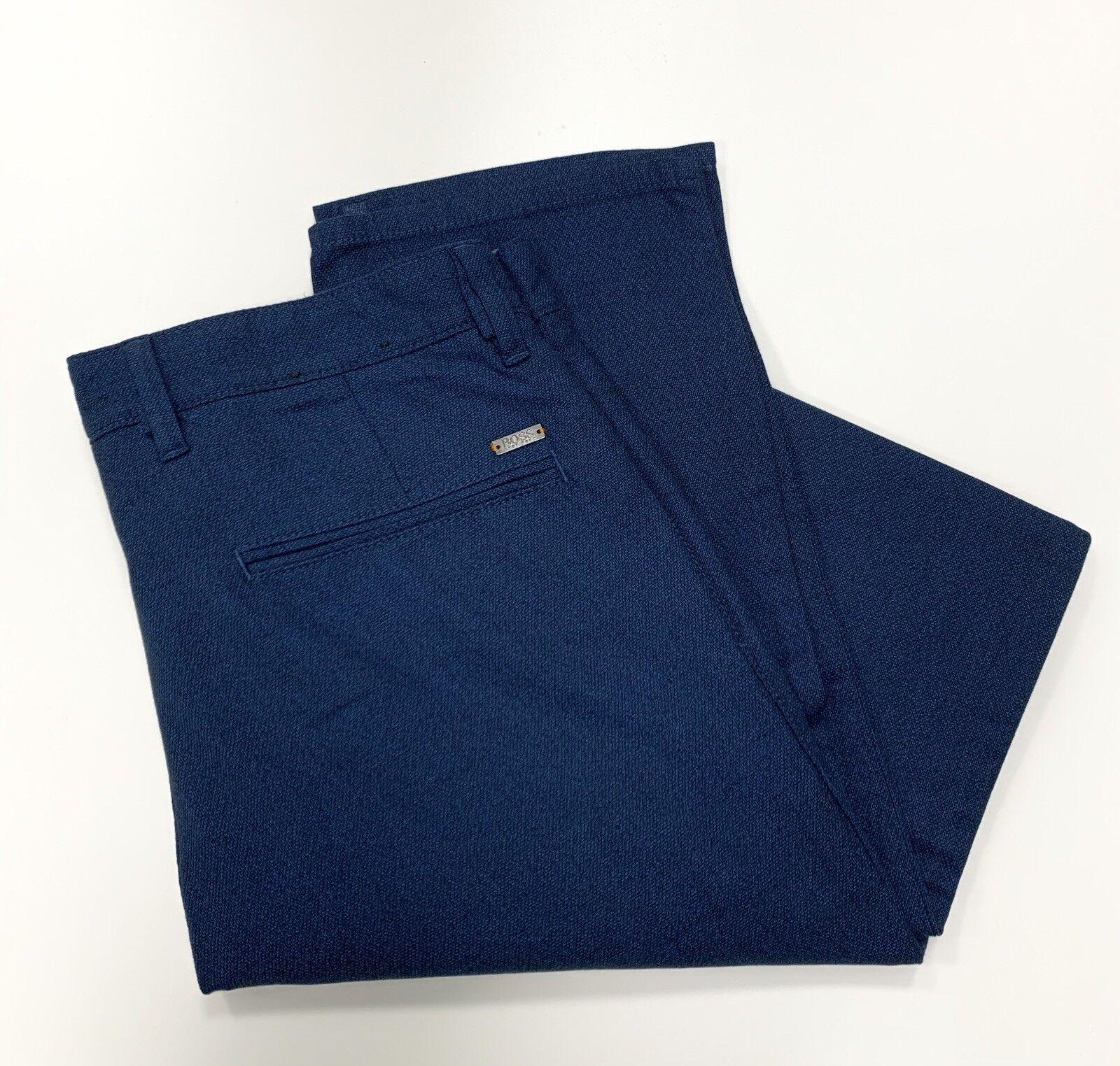 Hugo BOSS Pantaloni Slim Fit in un Sovratinti Sovratinti Sovratinti melange blu scuro cotone stretch 700a76