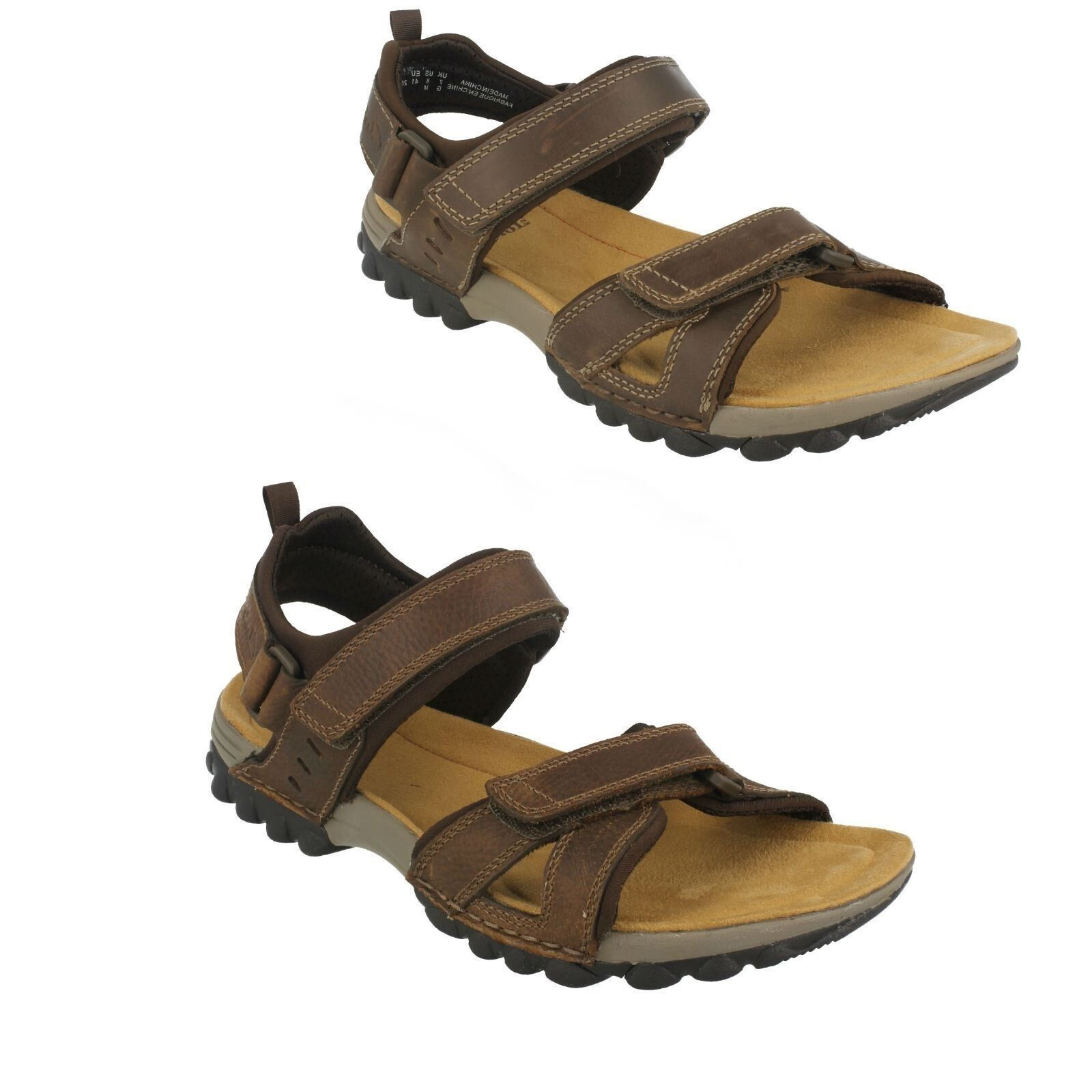 MENS CLARKS LEATHER RIPTAPE SLINGBACK CASUAL SUMMER SANDALS SHOES VEXTOR PART