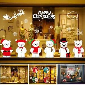 Buon-NATALE-PUPAZZO-DI-NEVE-ALCE-Babbo-Natale-Adesivo-Parete-Vetro-Finestra-Natale-Decor-fai-da-te