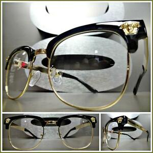 6f61a90db5c Men Women VINTAGE RETRO Style Clear Lens EYE GLASSES Black   Gold ...