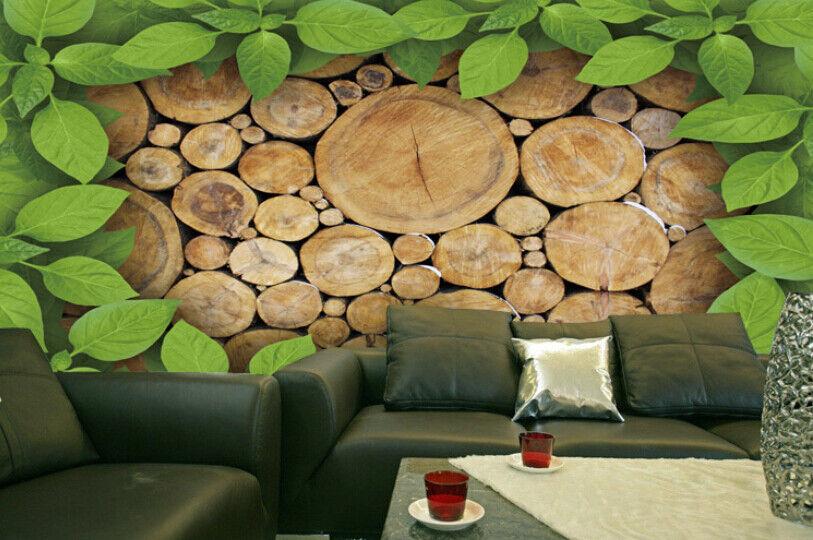 3D Leaf Wood Stakes 84 Wall Paper Murals Wall Print Wall Wallpaper Mural AU Kyra