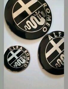 Brand New Alfa Romeo Badge 74mm Black Silver Badge GT 147