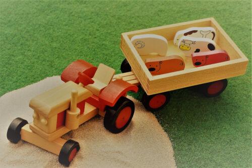 Traktor aus Holz + Tiere + 1 Päck. Spielsand Bauernhof Trecker Bulldog Kipper