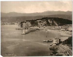 France-Nice-vue-panoramique-du-chateau-et-du-port-Vintage-albumen-print-T