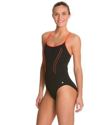 10 NEW Aqua Sphere Anika Open Back Female Navy Swim suit one piece blue Sz 36
