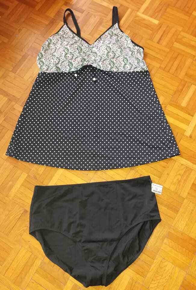 Tankini   Badekleid   Badeanzug NEU Gr. 54 D unterfüttert in black weiss Polka