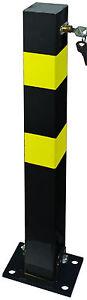 Folding Robust Security Parking Post Driveway Bollard Lock /& Key Black /& Yellow