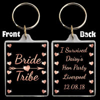 * Personalised BRIDE TRIBE KEYRING For Hen Night Party Do Bag Gift 35mm x 45mm