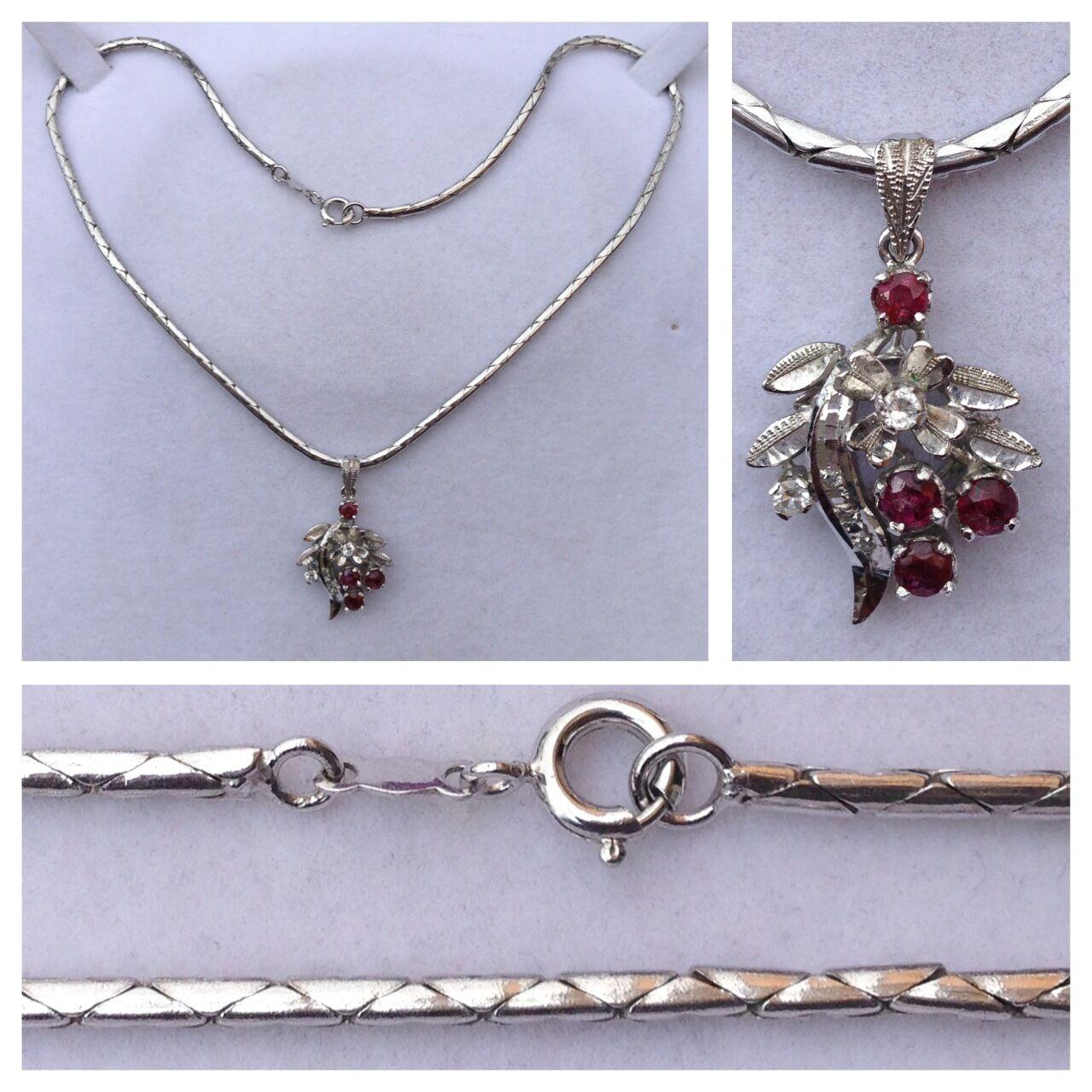 Joli (E) Collier 835 silver avec pendentif 925 silver rubis Zircone