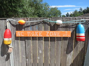 Selected Material #s835 48 Inch Wood Hand Painted No Wake Zone 5mph Sign Nautical Seafood