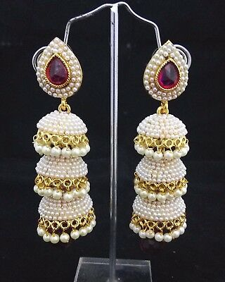 Women Gold Plated Indian Bollywood Fashion Party Ethnic Pink 3 Jhumka Earring