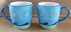 LOOK! Set of 2 KIC Brushes Sea Life Blue Ocean Beach Handpainted Coffee Mug Cups