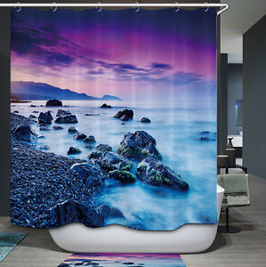 Image Is Loading Ocean Rock Sunset Shower Curtain Purple Blue Rocky