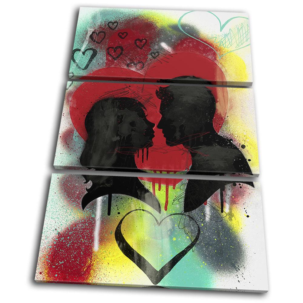 Couple Love Heart Urban Graffiti TREBLE TOILE murale ART ART ART Photo Print 97ce09