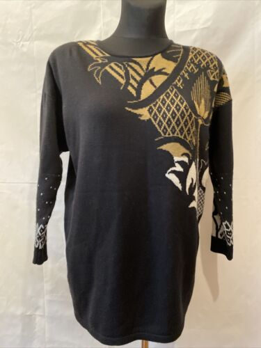 Finnish Vintage Arola 1980s  Women's wool black Sw