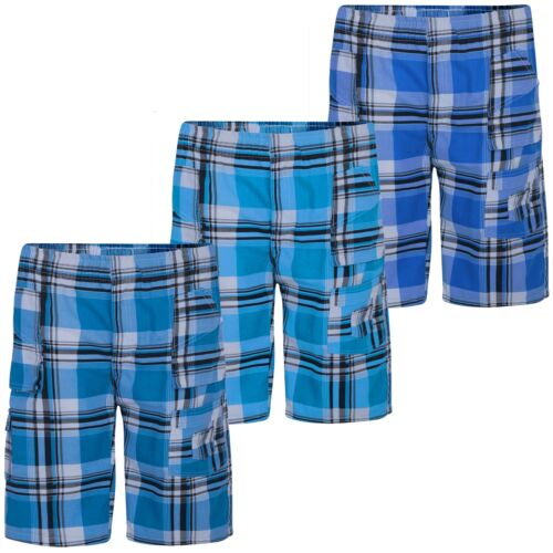 Kids Check Print Multipocket Shorts Tartan Cargo Bottoms Half Pants 3-14 Years