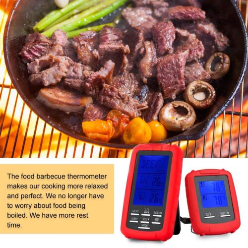 LCD Digital Wireless Remote Meat Thermometer With Dual 2 Probes For Grill BBQ HQ