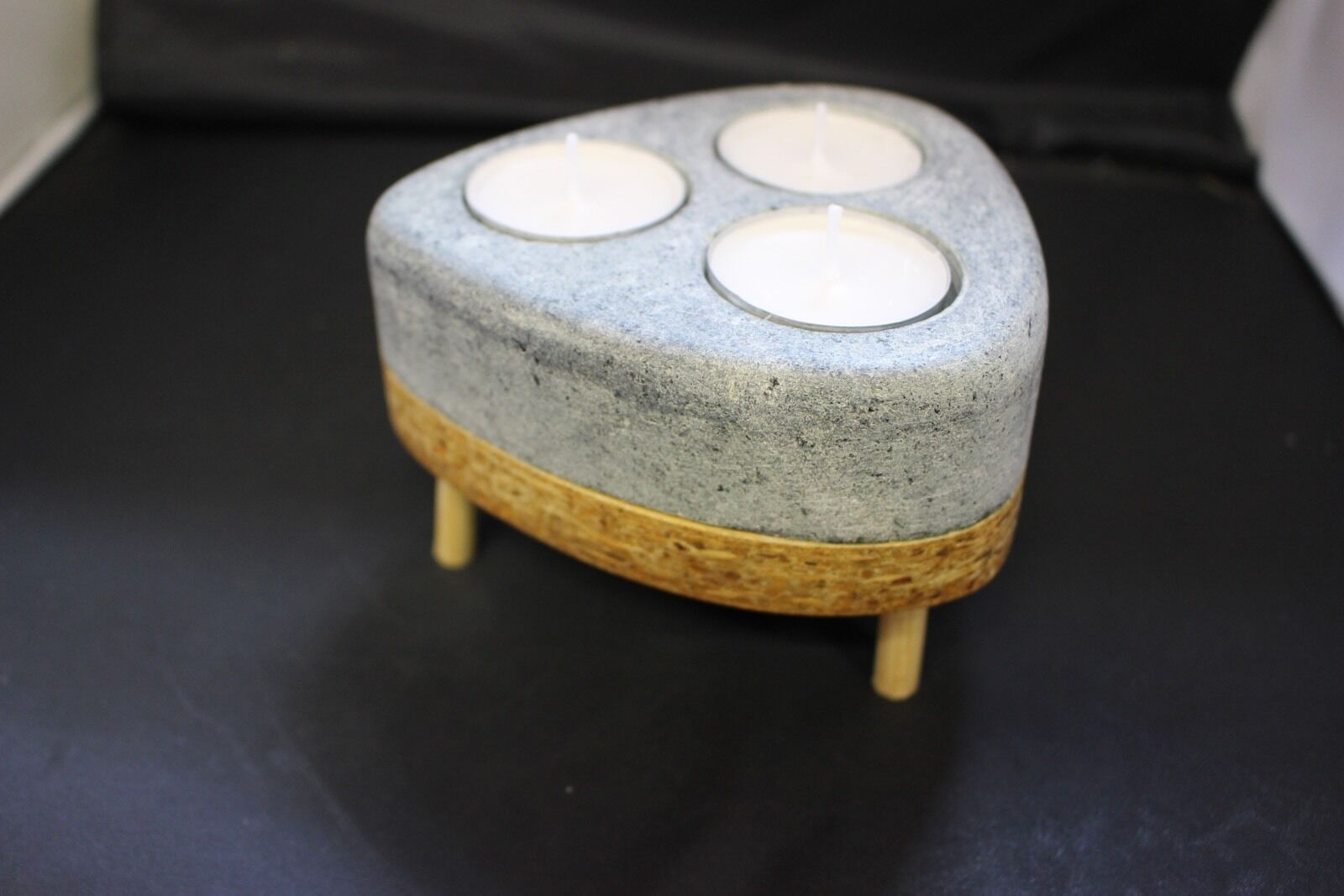 Greenlandic Soapstone And Wood 3 Tea Light Candle Holder Stand Handcrafted