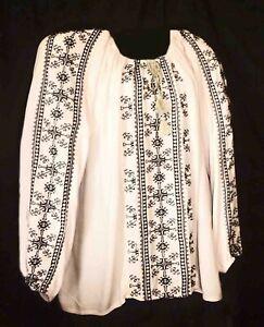 "Susan Graver Embroidered Blouse Folk Peasant Boho Color soft pink 56"" around"