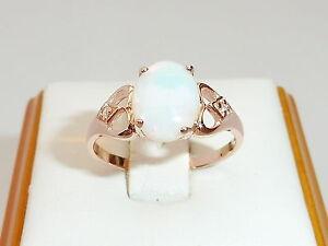 Damen-18-Karat-Rose-Gold-Sterling-925-Silber-Weiss-Saphir-amp-1-Karat-Opal-Ring