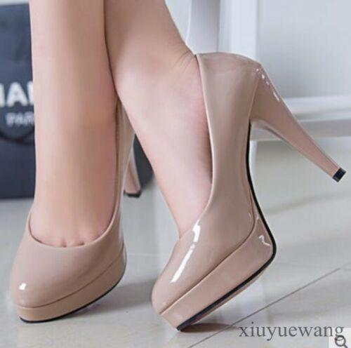 Womens Patent Leather High Heel Stiletto Platform OL Party Shoes Pumps Pull on #