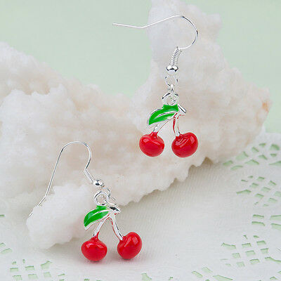 Cherry Earrings Retro 50s Kitsch Fruit Rockabilly Burlesque Jewellery