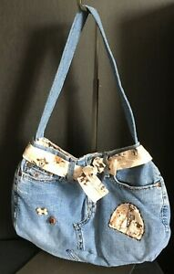 Hand-made-Denim-Purse-Bag-BOHO-style-with-dogs-Express-Jeans-Hook-and-Loop-Pug