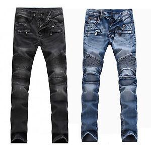 herren frankreich style distressed moto hose biker jeans. Black Bedroom Furniture Sets. Home Design Ideas