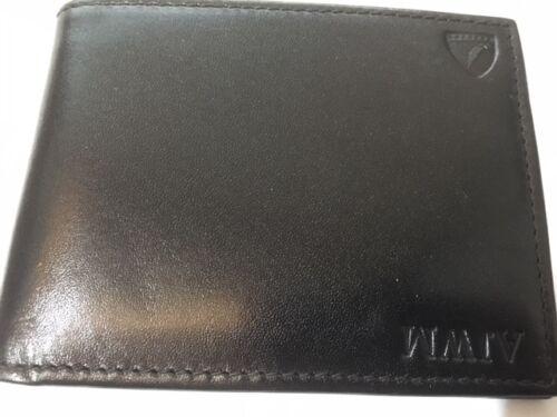 Aspinal of London Leather BILLFOLD WALLET In Nero Liscio dettagli in rilievo.