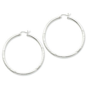 925 Sterling Silver Rhodium-plated Polished /& Diamond-cut Hoop Earrings 2mm x 37mm
