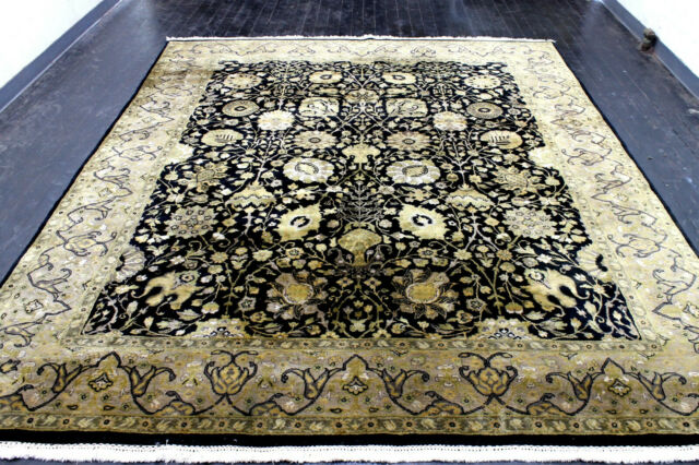 8X10 EXQUISITE MINT 200+KPSI HAND KNOTTED WOOL TABRIZZ GOLD BLACK ORIENTAL RUG