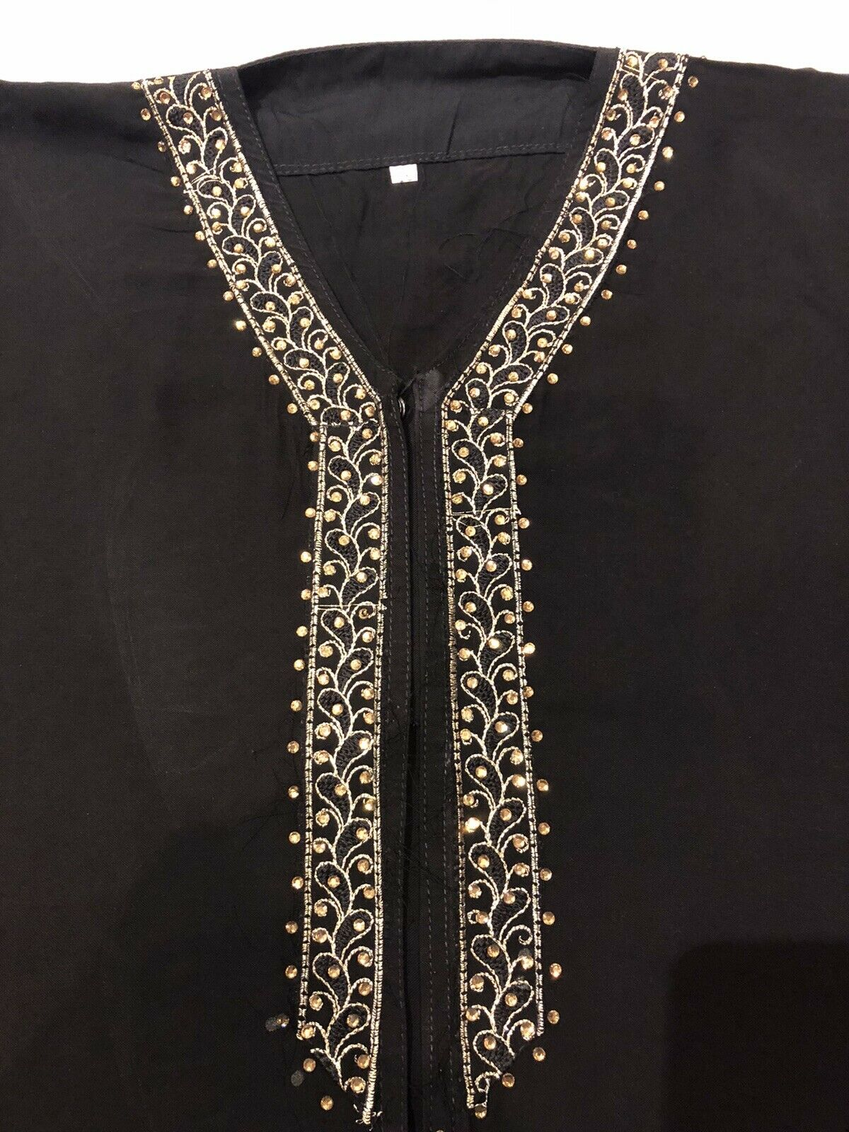 ♾ Girls Black Abaya And Scarf Size 46 Sparkly Gold Embellishments