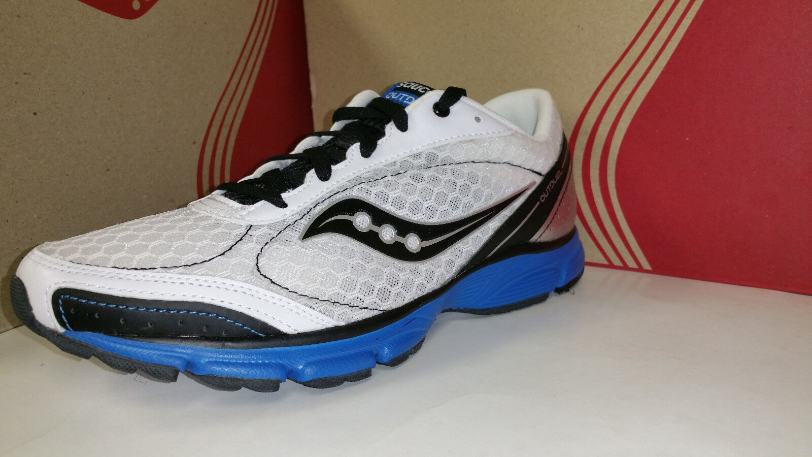 Saucony Men's Grid OutDuel White Black Royal Light Weight Running shoes 7.5-11.5
