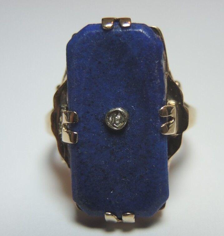Antique Vintage Art Deco Lapis Lbluei Esemco 14K Yellow gold Ring Size 6 UK-L1 2